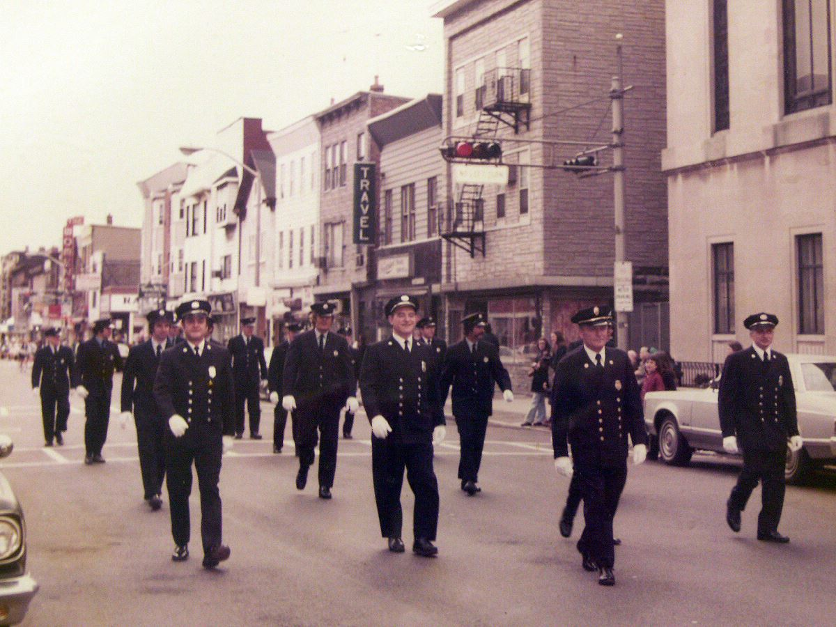Vintage Photo of Harrison Fire Department Members in Parade